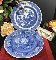 Vintage Spode Plates Blue and White -First Botanical and Willow England Set - 2
