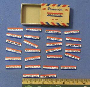 VINTAGE DENNISON STICKERS SEALS ORIGINAL BOX 26 VIA AIR MAIL STICKERS USA