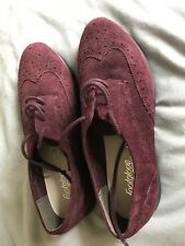 Brand new Marks & Spencer size 5.5 wide burgundy lace up suede brogues