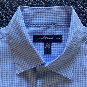 Joseph & Feiss Men Shirt Size M Light Blue Check Short Sleeve Soft