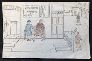 Feminism - An Unusual 1952 Anti-Feminist Pencil & Crayon Drawing