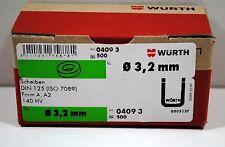 Würth Scheibe - Unterlegscheibe 500 Stück Ø 3,2 mm - DIN125 Edelstahl A2 140HV