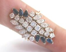 Blue Sapphire & Diamond Cluster Ring Solid Yellow Gold G/VS2 14Kt SIZEABLE
