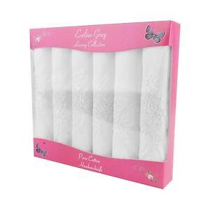 6 Pack Women's/Ladies Luxury White Handkerchiefs With Plain White Embroidery