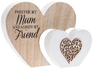 Sentiments Large Double wooden Heart Mum ornament 22x16x2.5cm