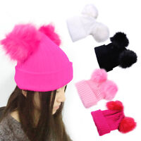 Women Girls Thick Knitted Winter Beanies Wool Hat Cap With Two Fur Pompoms Ball
