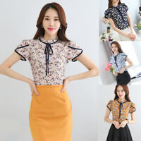 Korean Women Vintage Chiffon Short Sleeve Floral Tunic Tops Casual Shirt Blouse
