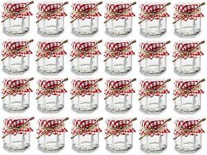 24 pcs 1.5 oz Mini Hexagon Glass Jars with Red Gingham Jar Cover and Hemp Twine