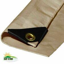 (Beige/Tan) Heavy Duty Premium Poly Tarp 12 Mil Thickness 3 Ply