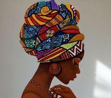 Diadema Headwrap Headscarf impresión africanos turbante 100% Algodón Cera Hecho A Mano Reino Unido