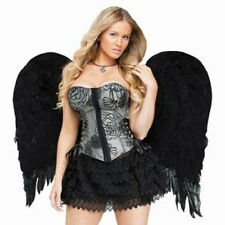 Large Feathered Black Wings Angel Sexy Adult Halloween Costume Accessory 28""