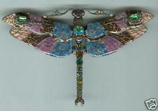 Joan Rivers Magnificent Blue Mosaic Enamel Dragonfly Statement Pin~Stunning Gift