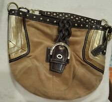 COACH Limited Edition Suede hobo style bag in VGUC Leather Chevron F10683