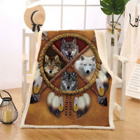 HORSE & WESTERN GIFTS HOME DECOR  WOLVES REVERSIBLE SHERPA FLEECE  BLANKET THROW