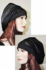 designer-look superposé Chapeau cuir Casquette Beanie Noir Simili Cuir