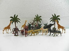 CLAIRET ANCIEN Lot ANIMAUX SAUVAGES ZOO SAVANE CIRQUE starlux elastolin britains