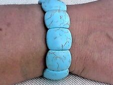 """ELASTICATED BRACELET with OVAL TURQUOISE RESIN STONES 1""""/ 2.5cm. WIDE £5.95 NWT"""