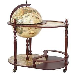 Globusbar mit Tisch MCW-D84, Minibar, Weltkugel Ø 42cm rollbar Eukalyptusholz