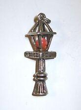 VTG Sterling Silver 3-D 19 C Peach Tree St RED Light Street Lamp Charm Pendant