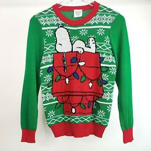 Peanuts Snoopy Christmas Pullover Dog House Lights Green Red Sweater Youth M