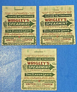 """3 Wrigley's Spearmint """"Perfumes the Breath"""" Gum Wrappers"""