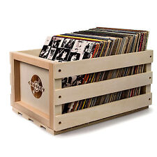 New CROSLEY LP RECORD STORAGE CRATE SOLID WOOD RETRO DESIGN