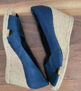 White Mountain Women's Navy Peep-toe Espadrille Wedge fabric upper Size 11