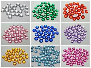 500 Acrylic Flatback Round Rhinestone Gems 6mm FlatBacks No Hole Colour Choice