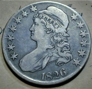"""1826 USA Capped Bust Silver Half Dollar in VF Condition O-107  Top of """"5""""  (559)"""