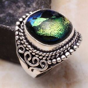 Fancy Dichroic Glass Ethnic Gift Handmade Ring Jewelry US Size-7.5 AR 88955
