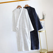 Mens V Neck Sleepwear Cardigan Check Loose  Kimono Bathrobe Nightwear Homewear