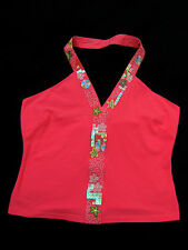 Next Pink Cotton stretch Sequin Flower Embroidered Halter Neck Top Size UK 14