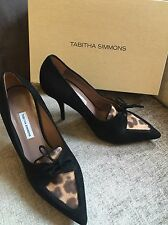 TABITHA SIMMONS EDNA BLACK SUEDE ANIMAL LEOPARD HEELS SHOES EU 38.5 UK 5.5 NEW