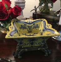 "Blue and Yellow Porcelain Floral Bird Crest Motif Accents Bowl Brass Ormolu 8""H"