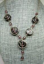 Purple Amethyst Wire Wrapped Necklace, Boho Artisan Jewelry Silver tone