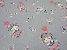 Stoff Baumwolle Jersey Mädchenstoff Blumen Ballons grau rot rosa Kinderstoff