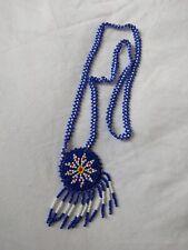 Southwest native motive blue white round beaded pendant women fashion