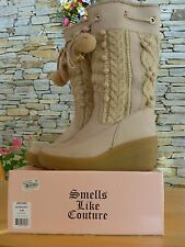 Juicy Couture SnowBunny Suede Leather & Knit Winter Boots Charms Nubuck Size 8