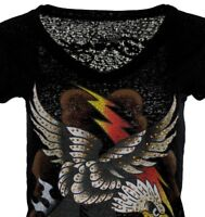 Women's V-neck Top-tee-ED HARDY-Burnout Tee - 67 STYLE Studded Eagle- Black .