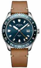 Rotary Mens Henley GMT Brown Leather Blue Dial Gs05108/05 Watch - 14 off
