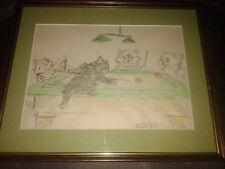Gatti giocare biliardo,Disegno acquerello -originale firmato Boris O'KLEIN-