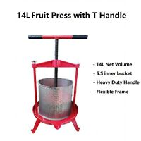 Heavy Duty 14L T-Handle Stainless Steel Bucket Press for Wine/Cider making