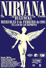 Nirvana 1994 In Utero concert poster at Palicio De Los Deportes, Spain