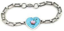 "Vintage Sterling Charm Bracelet Blue Guilloche Enamel Pink Rose Heart 6"""
