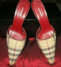 """Burberry Luxury Nova Check Mules w/Black almost 3"""" Heels Made in Italy Sz 37.5"""