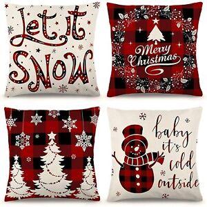 Set of 4 ZJHAI Christmas Pillow Covers 18x18 Inches Linen Farmhouse Let it Snow