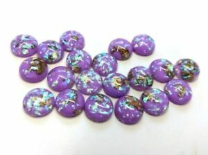 10 pcs Resin Round Embellishment Circle Cabochons Metal Foil Purple, White, Gold