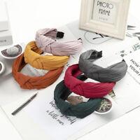 Ladies Tie Knot Headband Hairband Plain Wide Alice Hair Hoops Band Accessories