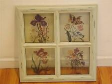 Window Pane Art Floral Distressed Wood Shaby Chic Botanic Garden Exotic Plants