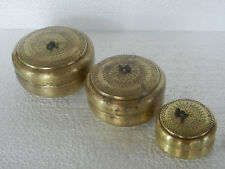Old Lot Of 3 Brass Round Shape Handcrafted Small Bread / Jewellery Box